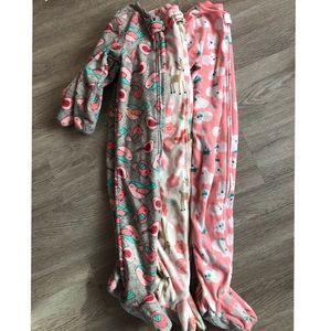 2t-3t footie pajamas 3 piece bundle